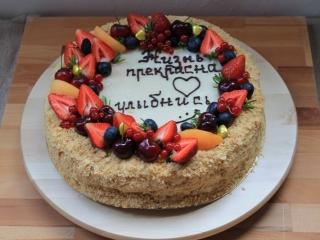 Домашний торт Наполеон с заварным кремом на заказ в Москве и Одинцово